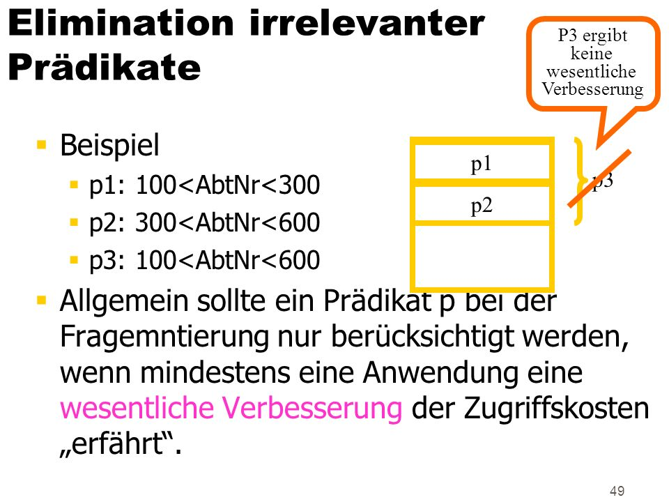 Elimination irrelevanter Prädikate