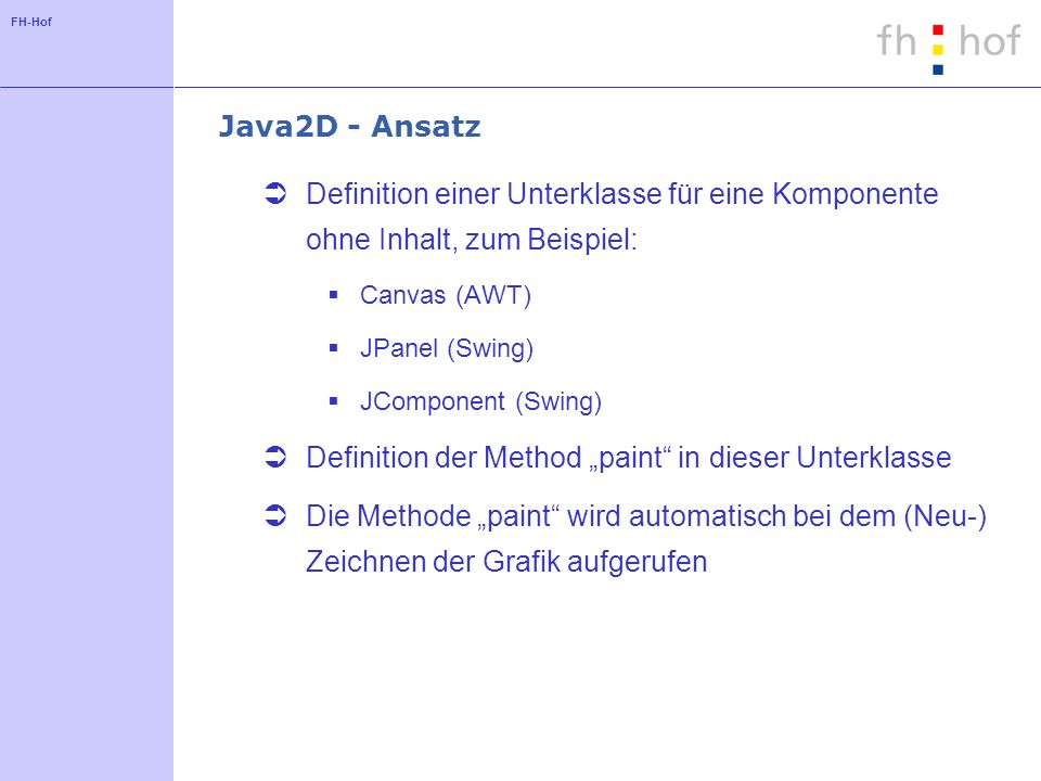 "Definition der Method ""paint in dieser Unterklasse"