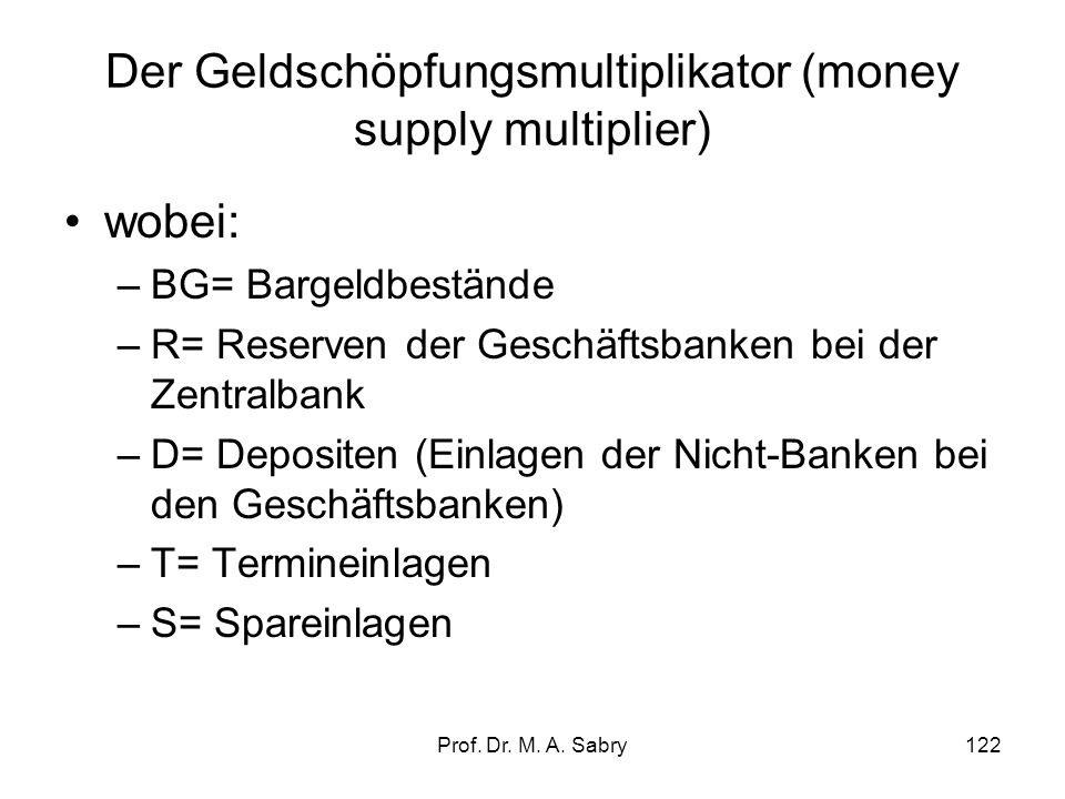Der Geldschöpfungsmultiplikator (money supply multiplier)