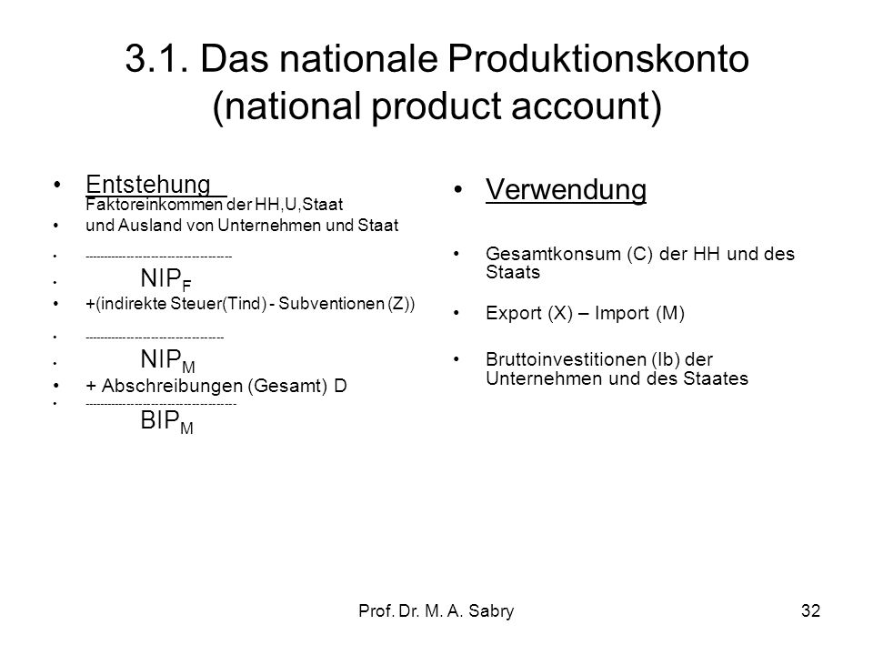 3.1. Das nationale Produktionskonto (national product account)