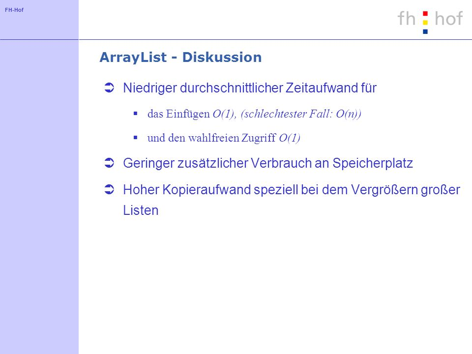 ArrayList - Diskussion