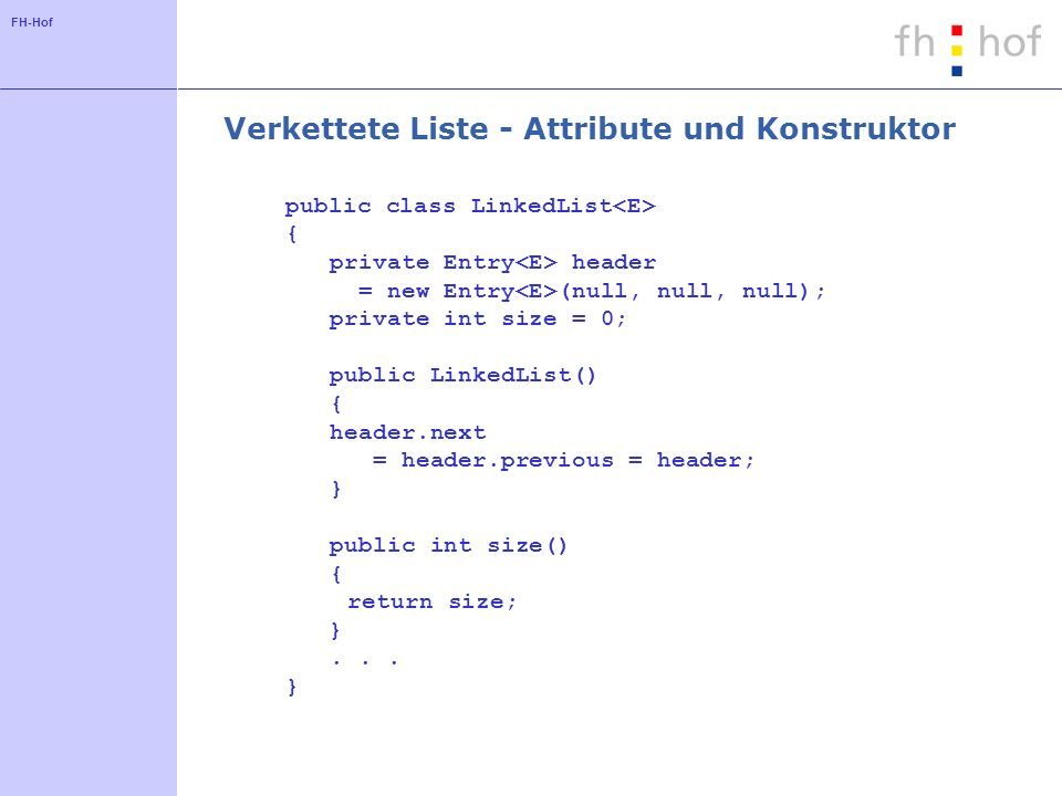 Verkettete Liste - Attribute und Konstruktor