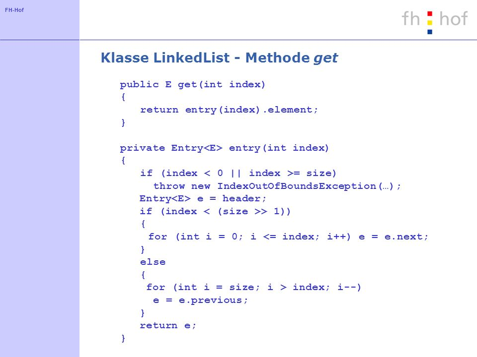 Klasse LinkedList - Methode get