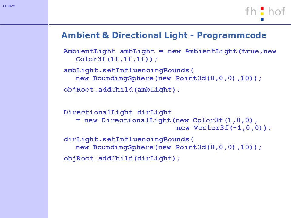 Ambient & Directional Light - Programmcode