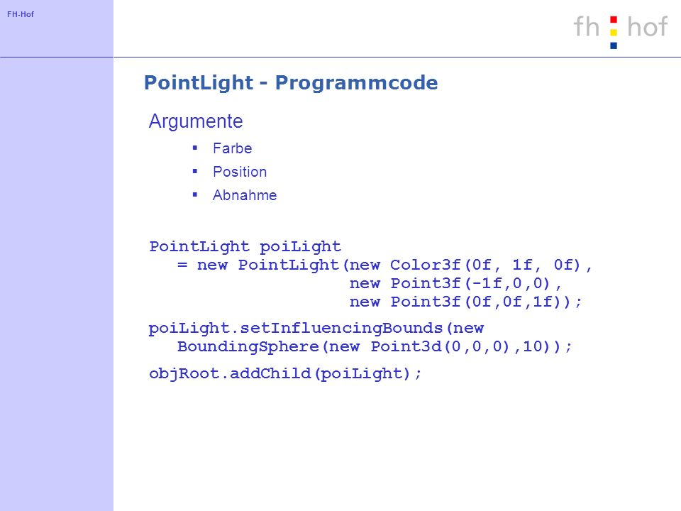 PointLight - Programmcode