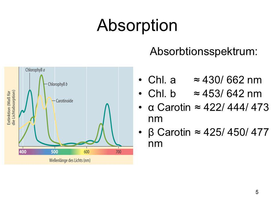 Absorption Absorbtionsspektrum: Chl. a ≈ 430/ 662 nm
