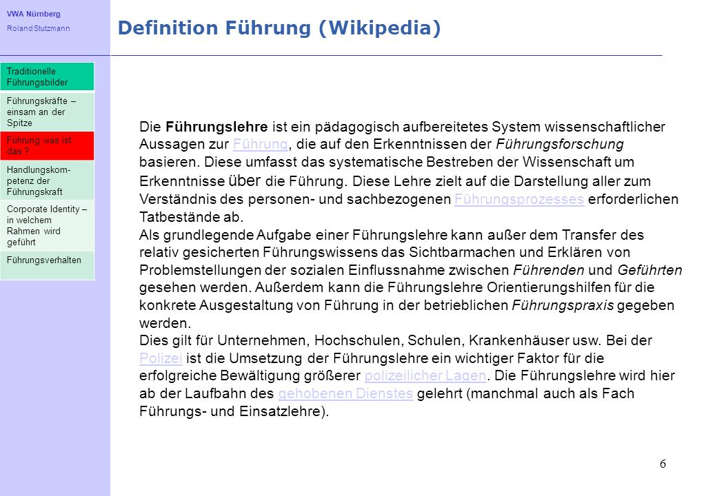 Definition Führung (Wikipedia)