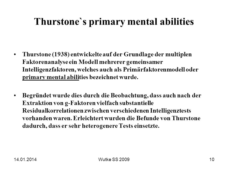 Thurstone`s primary mental abilities