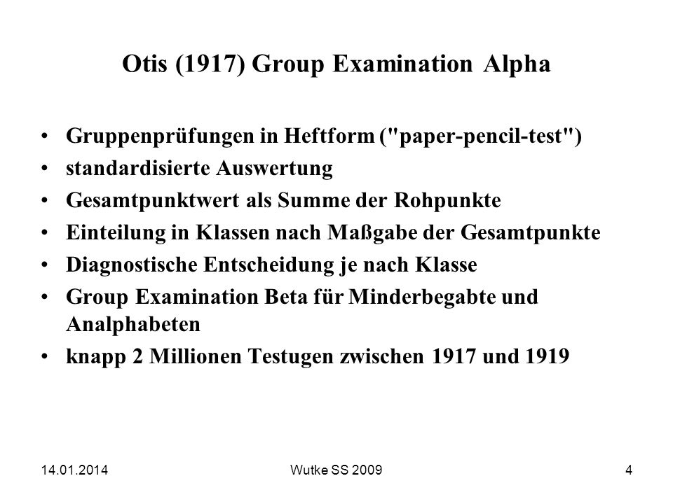 Otis (1917) Group Examination Alpha