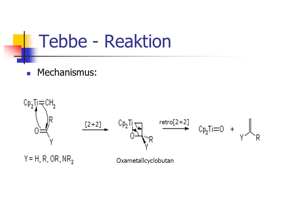 Tebbe - Reaktion Mechanismus: retro[2+2] [2+2] Oxametallcyclobutan
