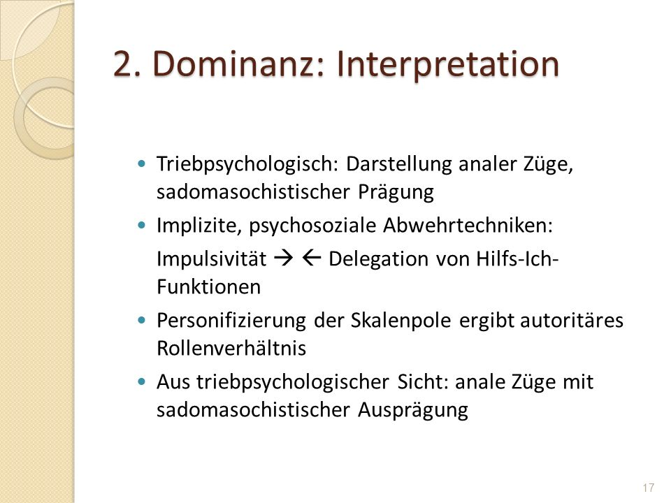 2. Dominanz: Interpretation