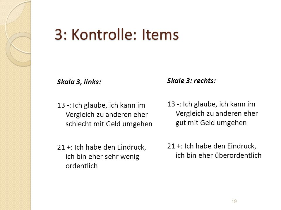 3: Kontrolle: Items Skala 3, links:
