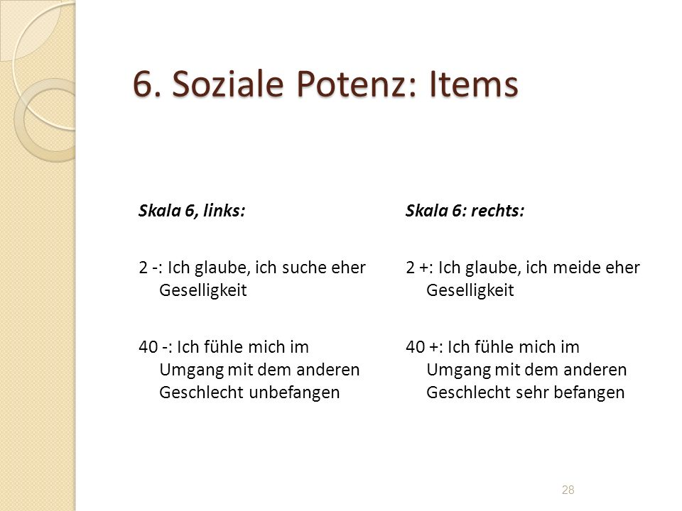 6. Soziale Potenz: Items Skala 6, links: