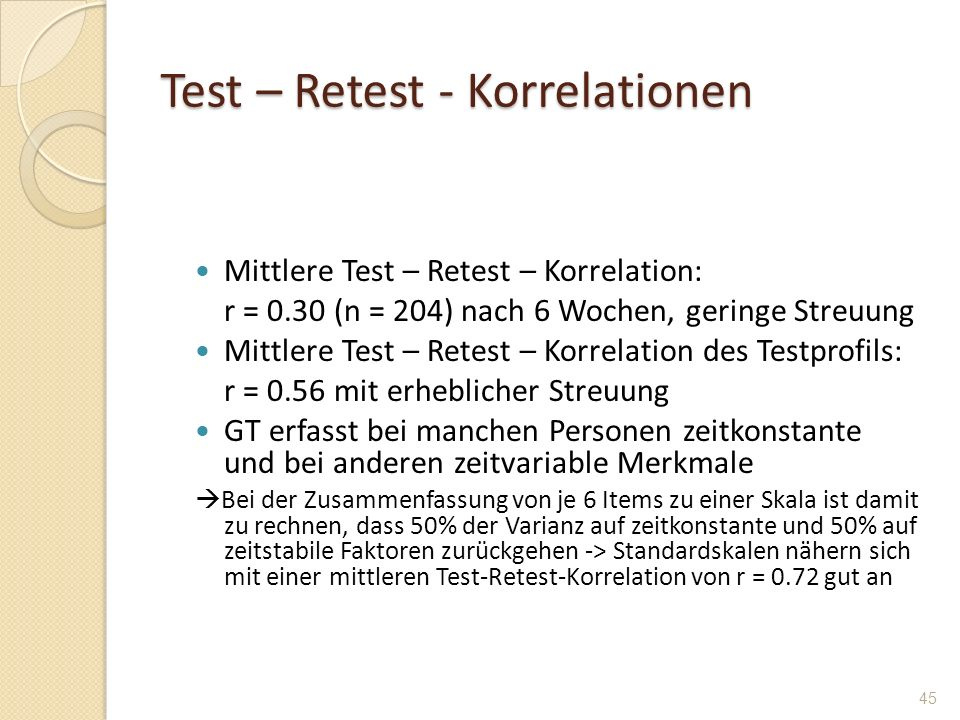 Test – Retest - Korrelationen