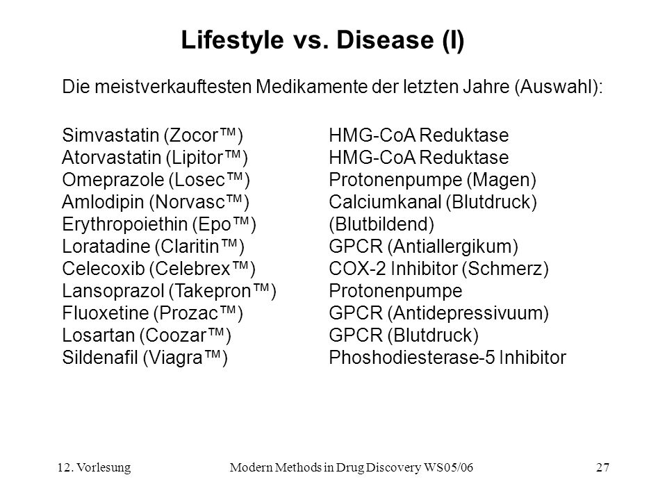 Lifestyle vs. Disease (I)