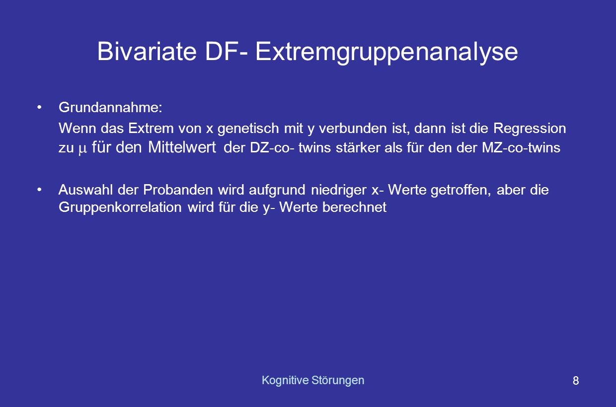 Bivariate DF- Extremgruppenanalyse