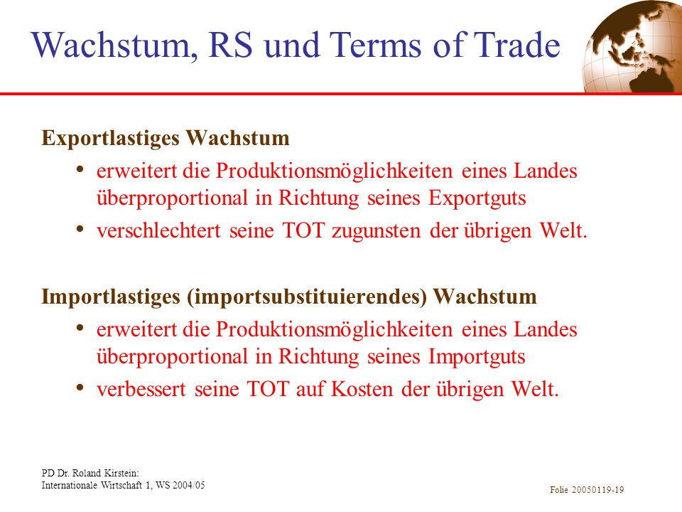 Wachstum, RS und Terms of Trade