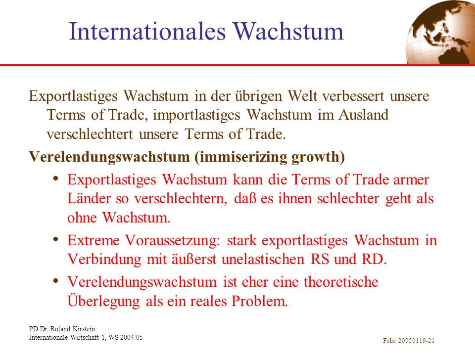 Internationales Wachstum