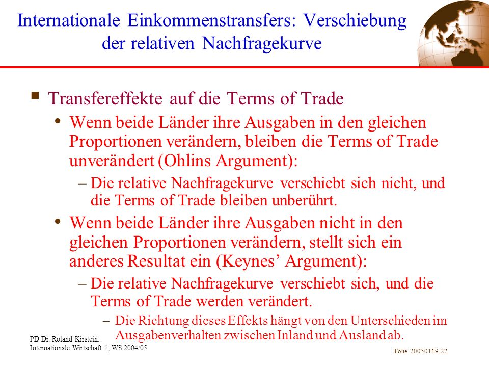Transfereffekte auf die Terms of Trade
