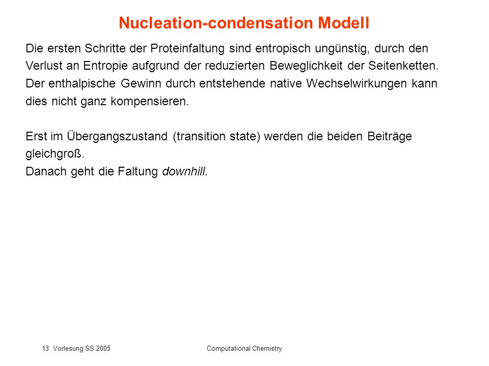 Nucleation-condensation Modell