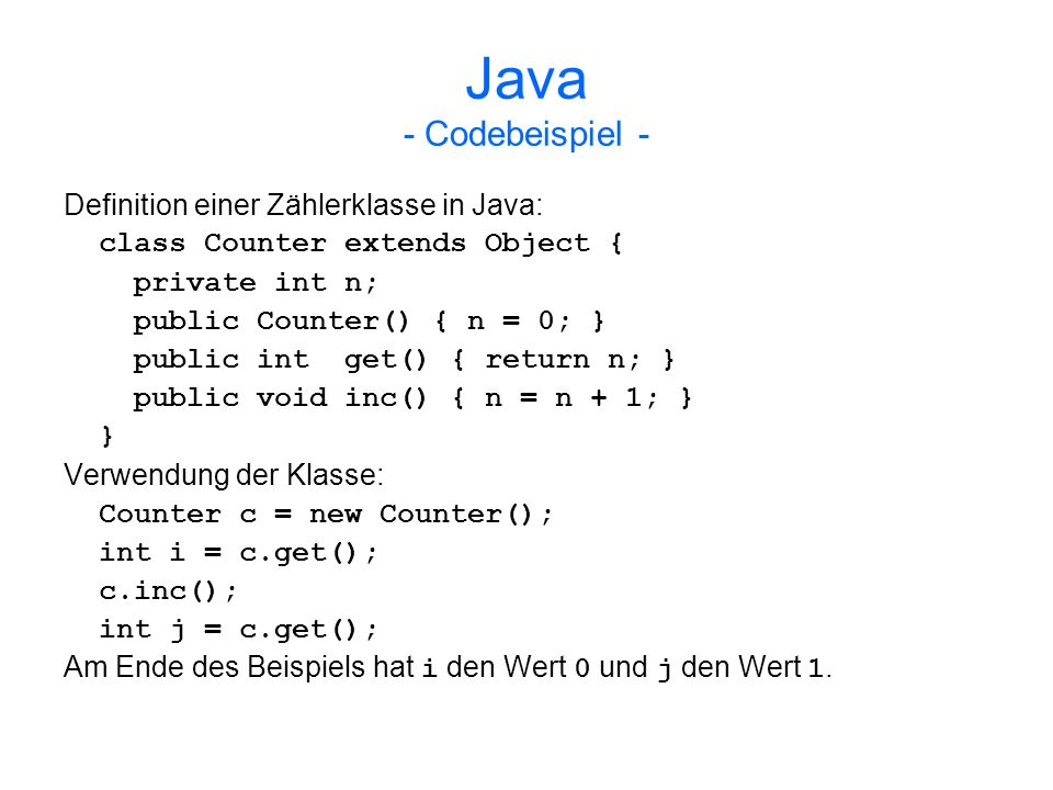 Java - Codebeispiel - Definition einer Zählerklasse in Java: