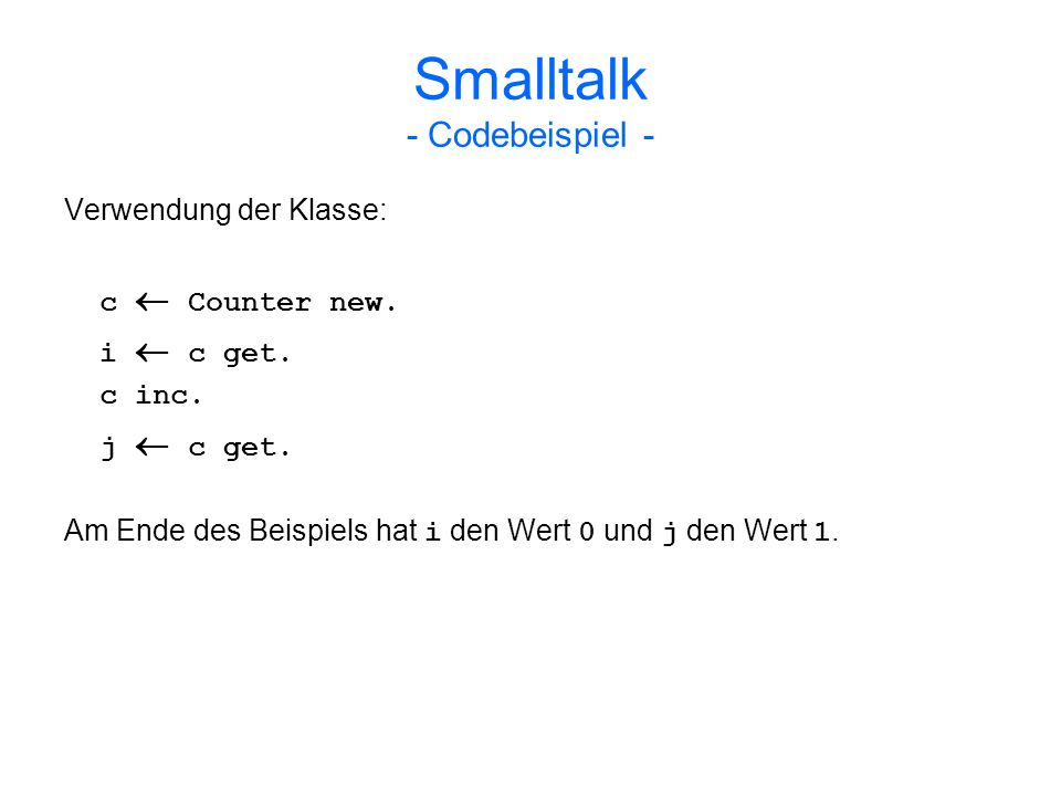 Smalltalk - Codebeispiel -