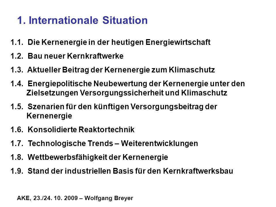 1. Internationale Situation