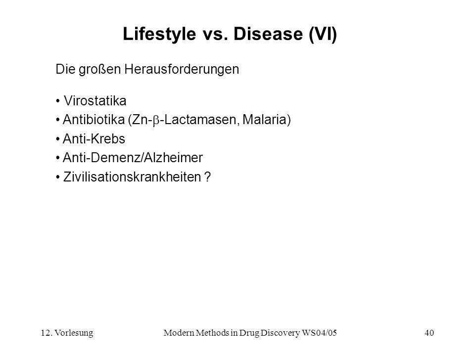Lifestyle vs. Disease (VI)