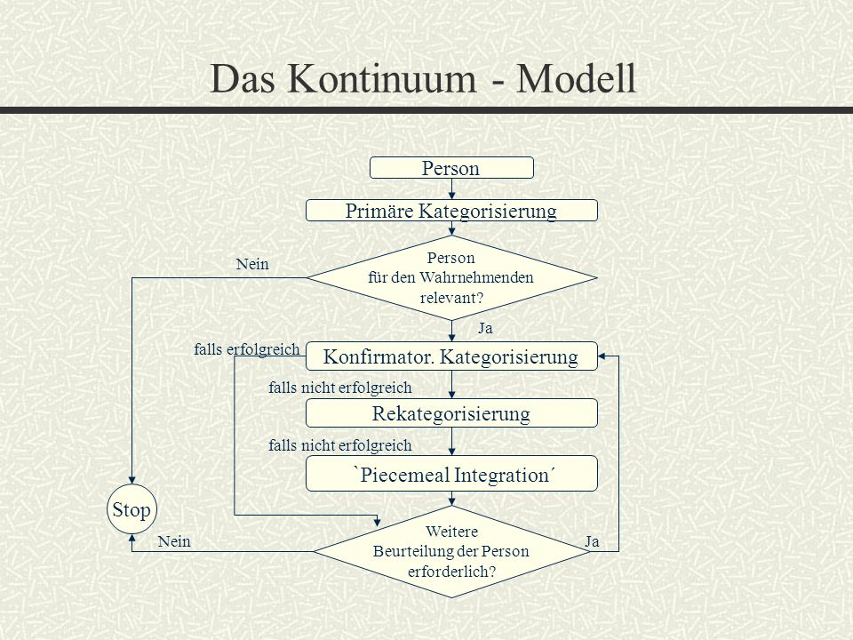Das Kontinuum - Modell `Piecemeal Integration´ Person