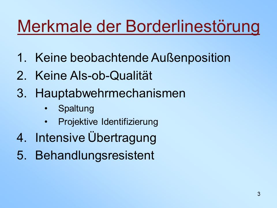 Merkmale der Borderlinestörung