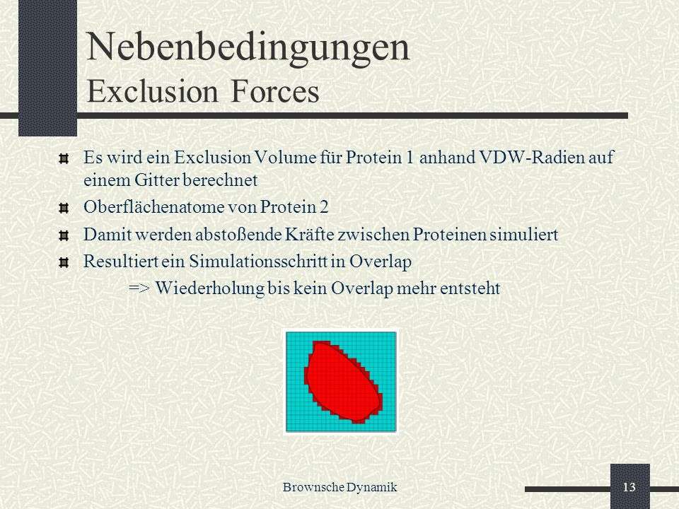 Nebenbedingungen Exclusion Forces