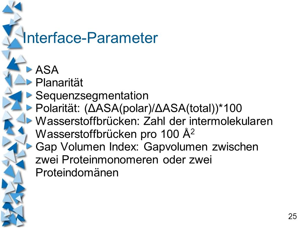 Interface-Parameter ASA Planarität Sequenzsegmentation