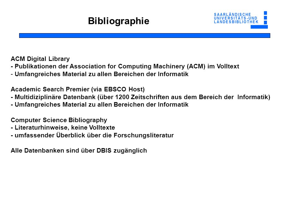 Bibliographie ACM Digital Library