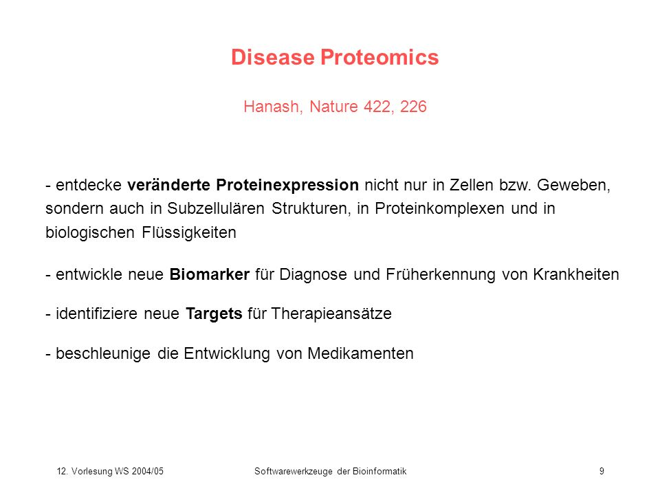 Disease Proteomics Hanash, Nature 422, 226