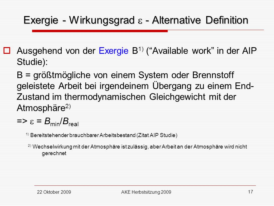 Exergie - Wirkungsgrad  - Alternative Definition