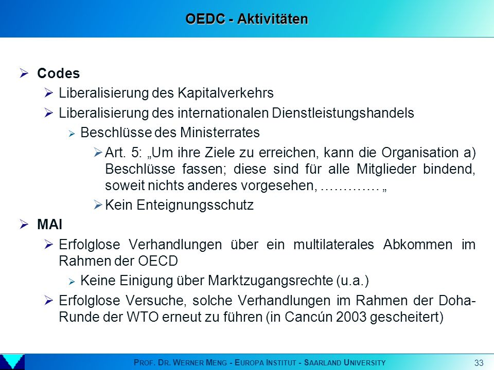 Prof. Dr. Werner Meng - Europa Institut - Saarland University - ppt ...