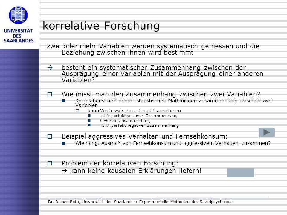 Experimentelle Methoden in der Sozialpsychologie (Dr. Rainer Roth ...