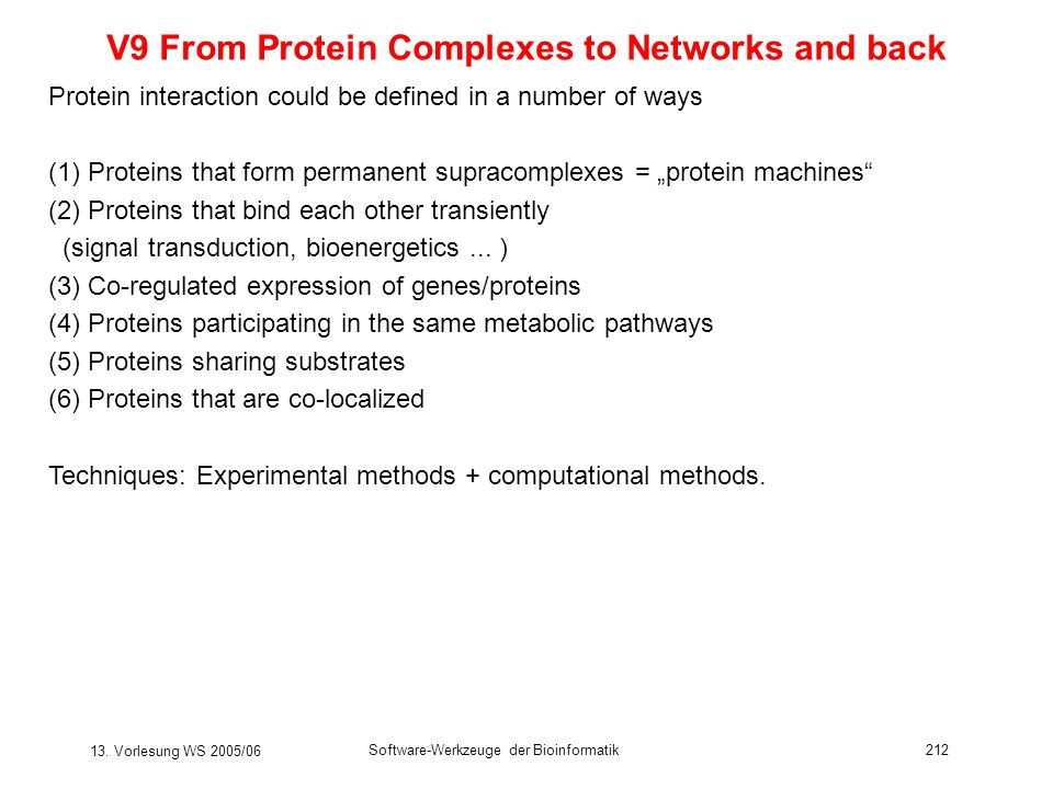 V9 From Protein Complexes to Networks and back