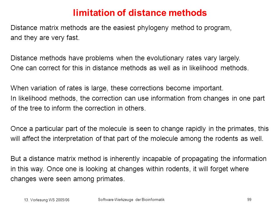 limitation of distance methods