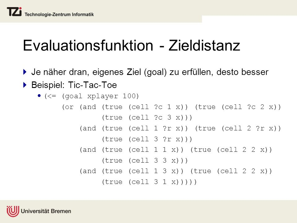 Evaluationsfunktion - Zieldistanz