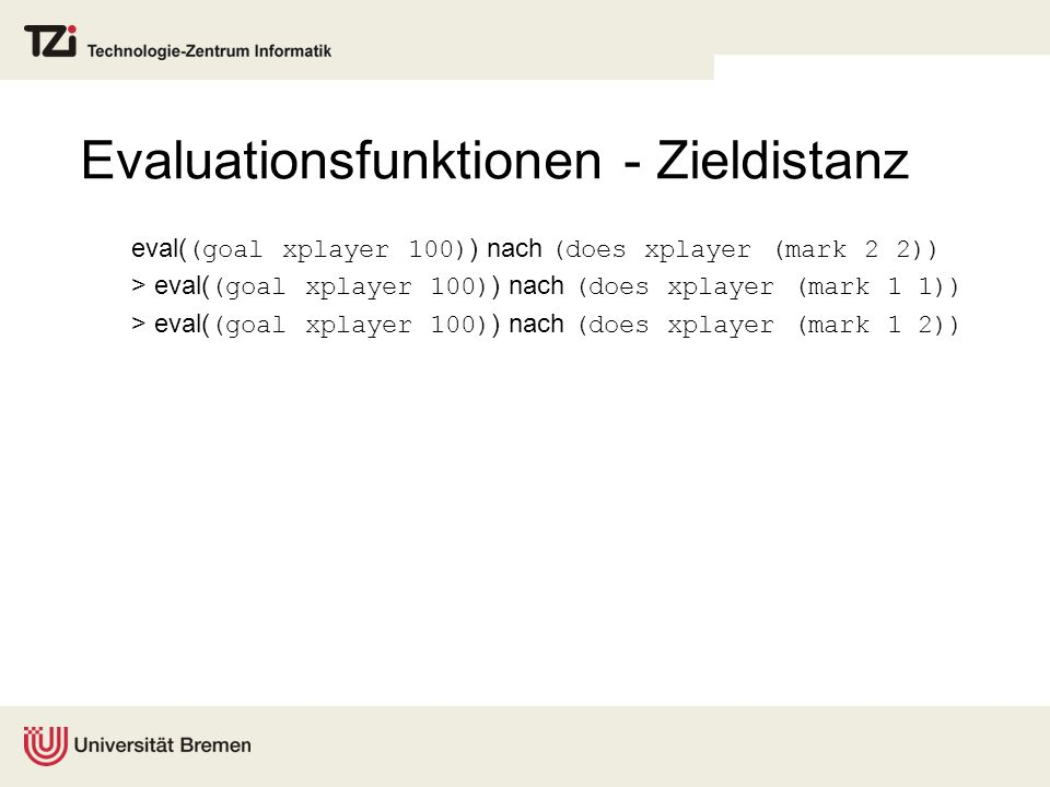 Evaluationsfunktionen - Zieldistanz