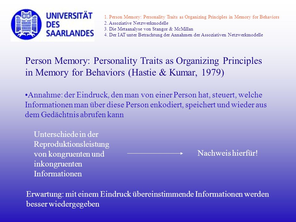 1. Person Memory: Personality Traits as Organizing Principles in Memory for Behaviors