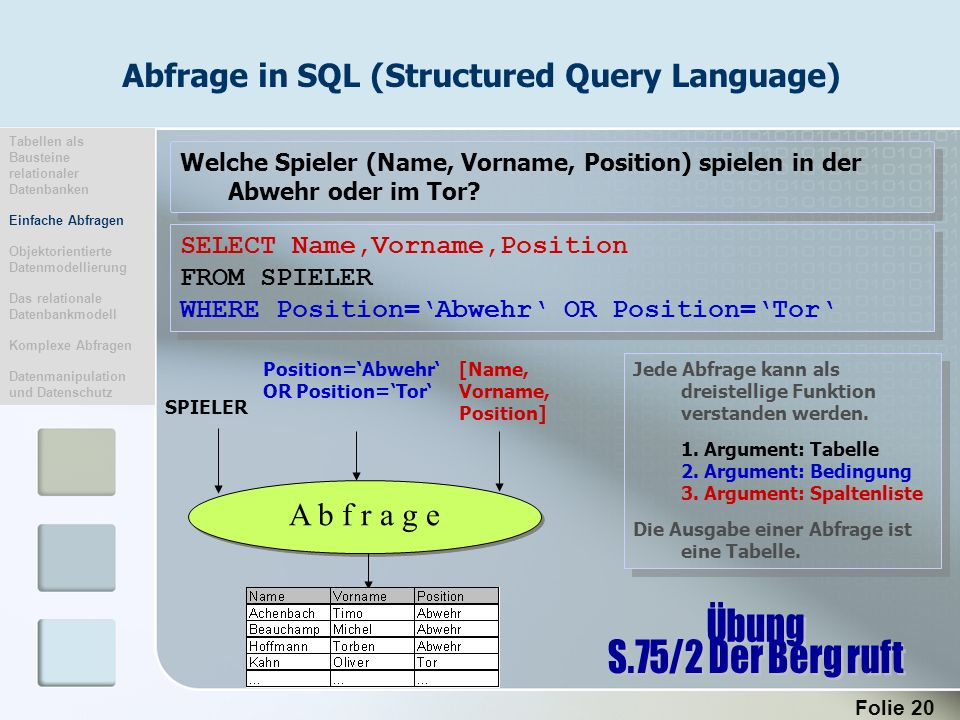 Abfrage in SQL (Structured Query Language)