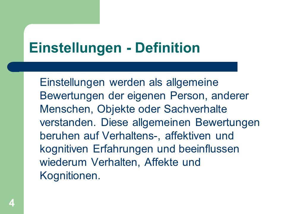 Einstellungen - Definition
