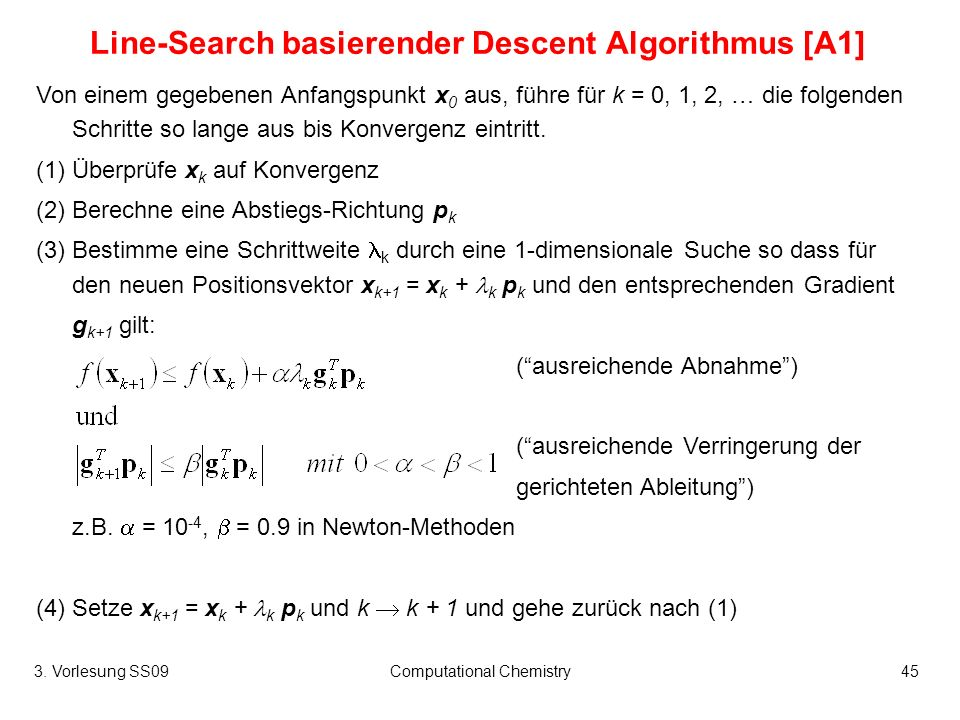 Line-Search basierender Descent Algorithmus [A1]