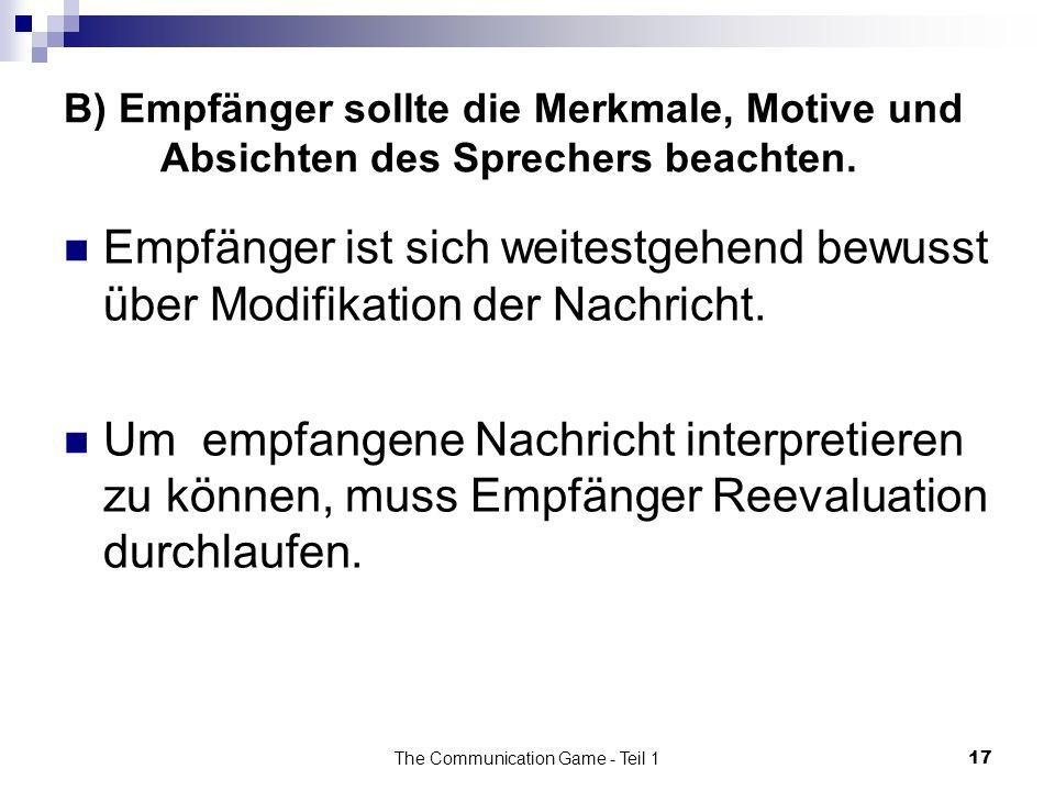 The Communication Game - Teil 1