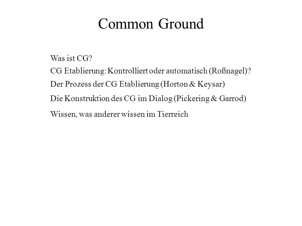 Common Ground Was ist CG