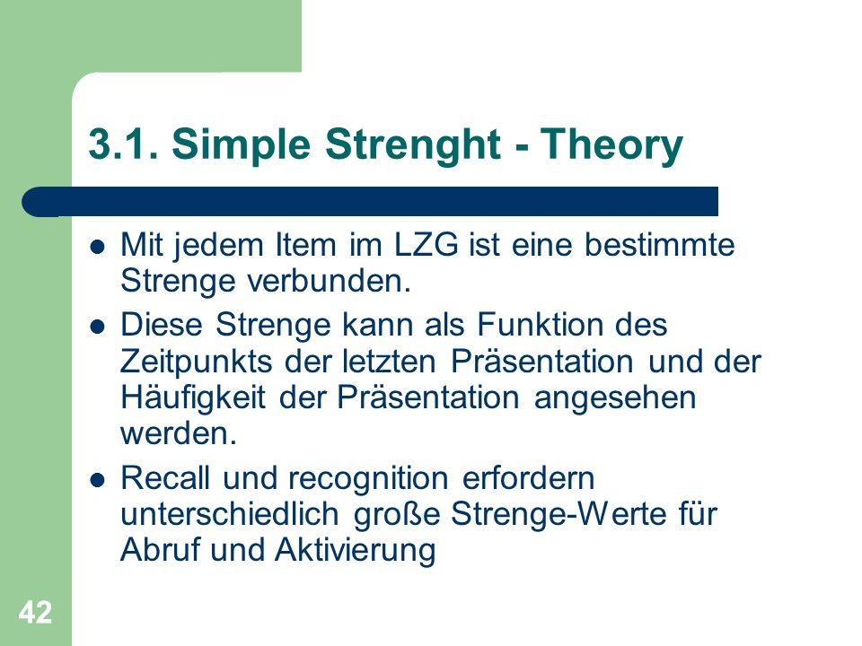 3.1. Simple Strenght - Theory
