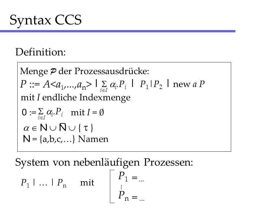 Syntax CCS Definition: P ::= A<a1,...,an> | S ai.Pi _ | P1|P2
