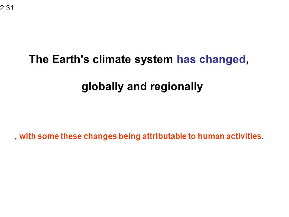 The Earth s climate system has changed,